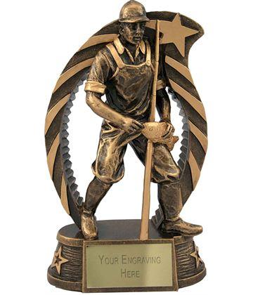 "Antique Gold Star Trim Fisherman Trophy  17cm (6.75"")"