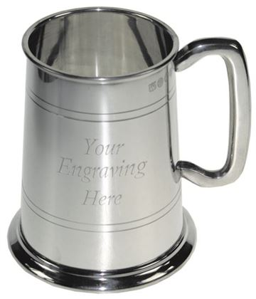 """1pt Double Lined Sheffield Pewter Tankard 12.5cm (5"""")"""