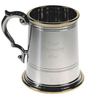 "Brass Rim & Base 1/2pt Sheffield Pewter Tankard 10cm (4"")"