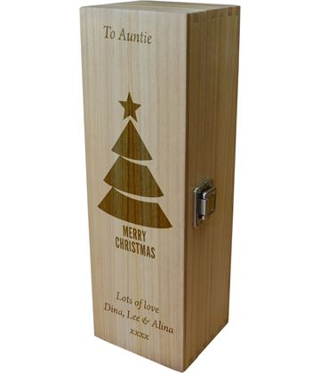 "Personalised Wooden Wine Box - Merry Christmas Tree 35cm (13.75"")"