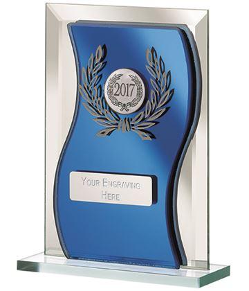 "2017 Blue Mirrored Glass Plaque Award 12.5cm (5"")"