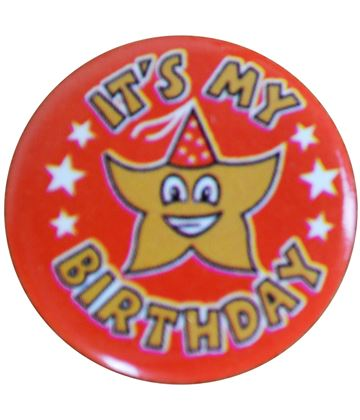 "Red It's my Birthday Pin Badge 25mm (1"")"