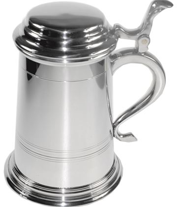 "Extra Heavy Balmoral 1pt Sheffield Pewter Tankard with Lid 16cm (6.25"")"