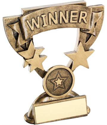 "Winner Mini Cup Banner Trophy 11cm (4.25"")"