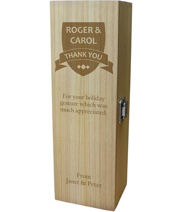 "Thank You Personalised Wine Box - Shield Design 35cm (13.75"")"