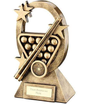 "Pool Snooker Oval Stars Series Trophy 16cm (6.25"")"