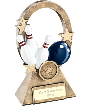 "Multi Ten Pin Oval Stars Series Trophy 16cm (6.25"")"