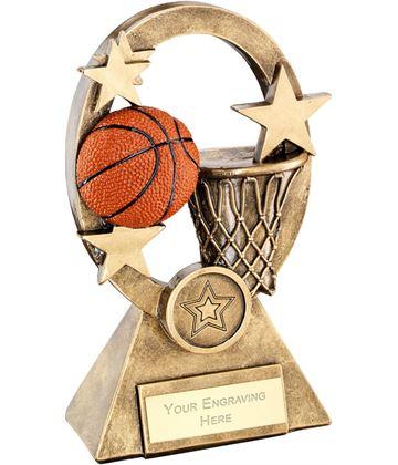 "Orange Basketball Oval Stars Series Trophy 16cm (6.25"")"