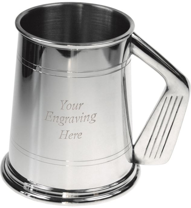 "1pt Sheffield Pewter Tankard with Golf Club Handle 11.5cm (4.5"")"