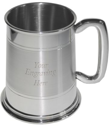 """Double Lined Part Satin 1pt Sheffield Pewter Tankard 11.5cm (4.5"""")"""