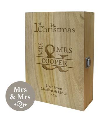 "Mrs & Mrs 1st Christmas Double Wine Box 35cm (13.75"")"