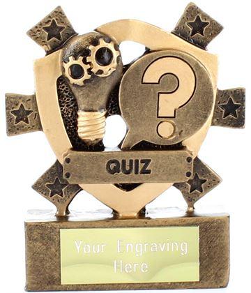 "Quiz Mini Shield Trophy 8cm (3.25"")"