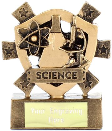"Science Mini Shield Trophy 8cm (3.25"")"
