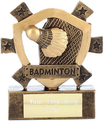 "Badminton Mini Shield Award 8cm (3.25"")"