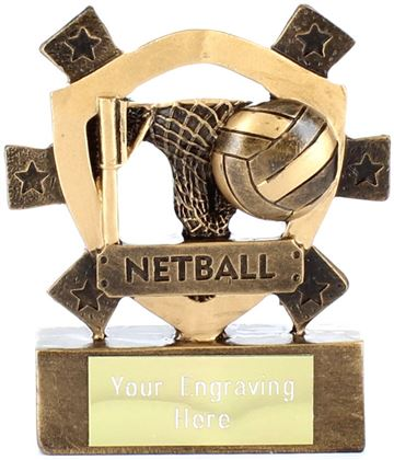 "Netball Mini Shield Award 8cm (3.25"")"