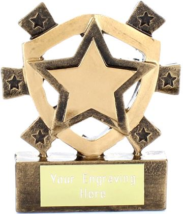 "Gold Star Mini Shield Award 8cm (3.25"")"