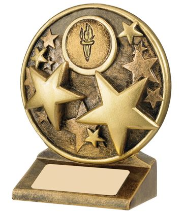 "Round Gold Resin Multi Star Trophy 11cm (4.25"")"