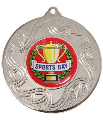 "Sports Day Silver Sunburst Star Patterned Medal 50mm (2"")"