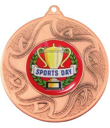 "Sports Day Bronze Sunburst Star Patterned Medal 50mm (2"")"