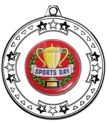"""Silver Star & Pattern Medal with Sports Day Centre Disc 50mm (2"""")"""