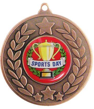 "Bronze Laurel Wreath Sports Day Medal 50mm (2"")"
