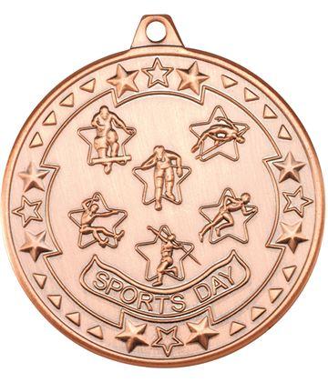 "Bronze Tri Star Sports Day Medal 50mm (2"")"