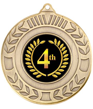 """Antique Gold 4th Place Wreath Medal 50mm (2"""")"""