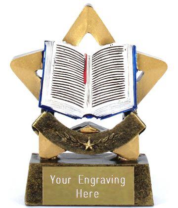 "Resin Mini Star Open Book Reading Trophy 8.5cm (3.25"")"