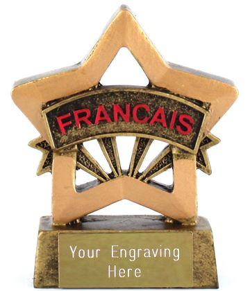 "French Resin Mini Star Award Trophy 8.5cm (3.25"")"
