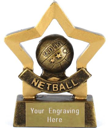 "Mini Stars Netball Trophy Award 8.5cm (3.25"")"