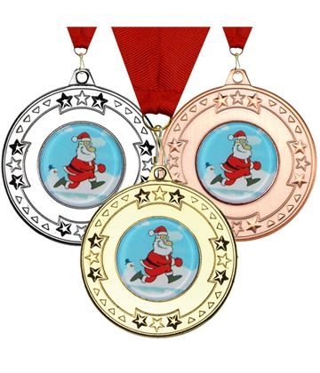 "Christmas Santa Star Medal Set 50mm (2"")"