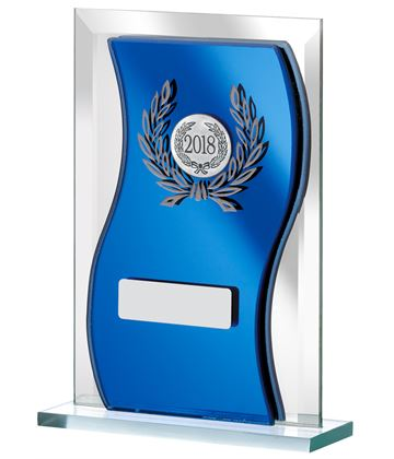 "2018 Blue Mirrored Glass Plaque Award 12.5cm (5"")"