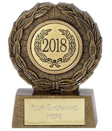 "2018 Resin Mini Star Laurel Wreath Trophy 6.5cm (2.5"")"