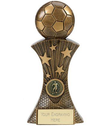 "3D Football On Star Burst Column Antique Gold Trophy 20cm (8"")"