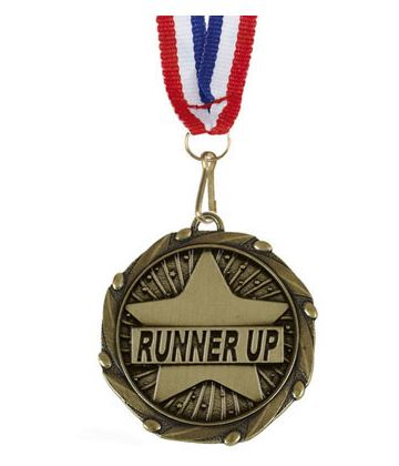 """Runner Up Gold Medal with Red, White & Blue Ribbon 45mm (1.75"""")"""