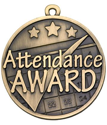 "Attendance Tick Award Gold Medal 50mm (2"")"
