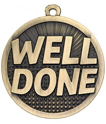 "Well Done Gold Burst Medal 50mm (2"")"