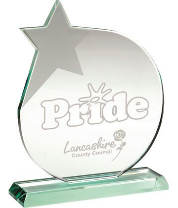 "Jade Glass Circle Plaque Award With Frosted Star 25cm (9.75"")"