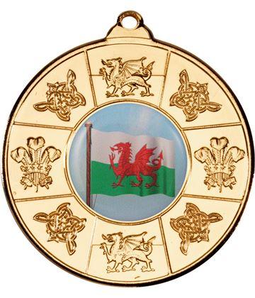 """Welsh Patterned Medal Gold 50mm (2"""")"""