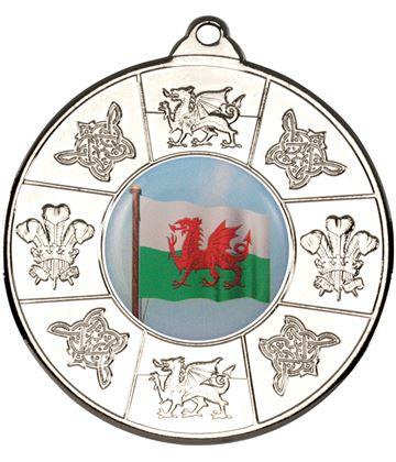 """Welsh Patterned Medal Silver 50mm (2"""")"""