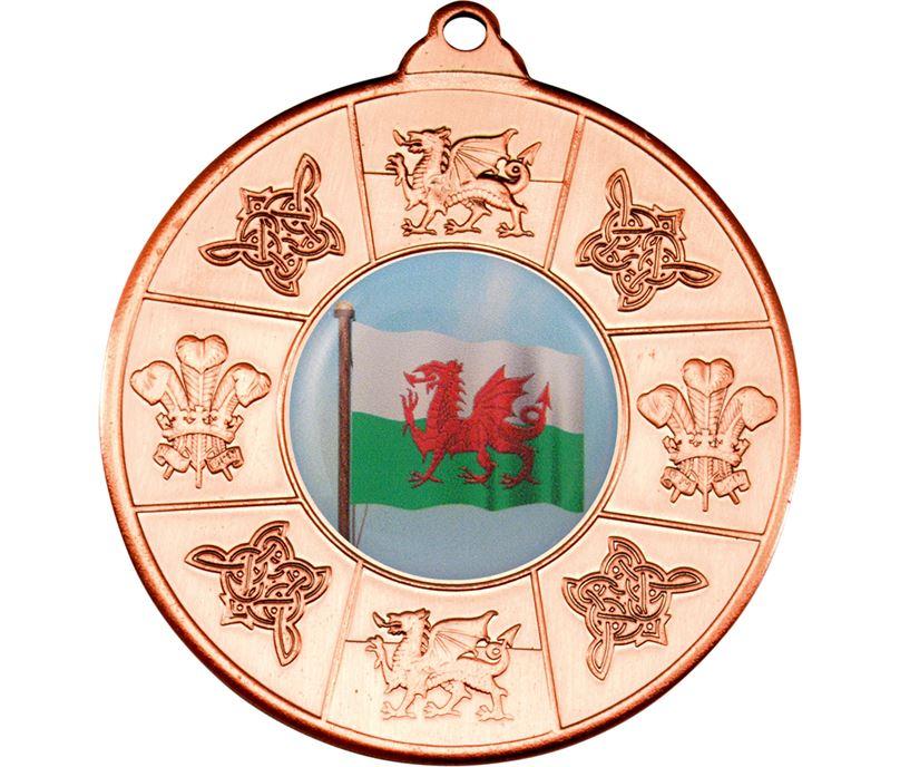 """Welsh Patterned Medal Bronze 50mm (2"""")"""