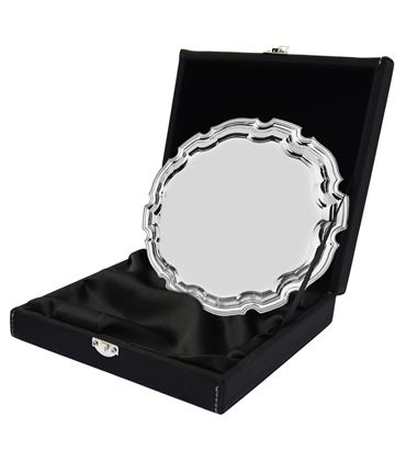 "Black Leatherette Salver Tray Case For Up To 4"" Trays"