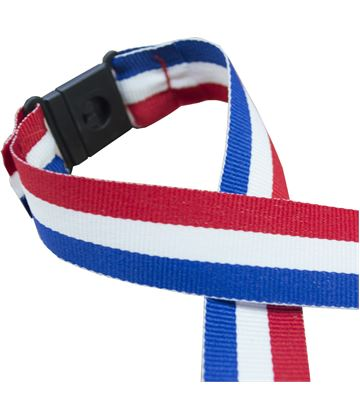 """Red, White & Blue Medal Ribbon With Safety Clip 76cm (30"""")"""