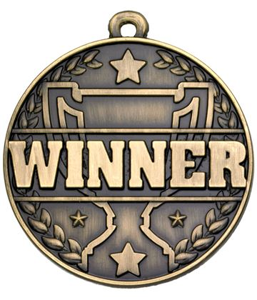 "Winner Laurel Wreath Detail Medal Gold 50mm (2"")"