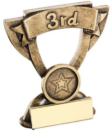 "3rd Place Mini Cup Banner Trophy 9.5cm (3.75"")"
