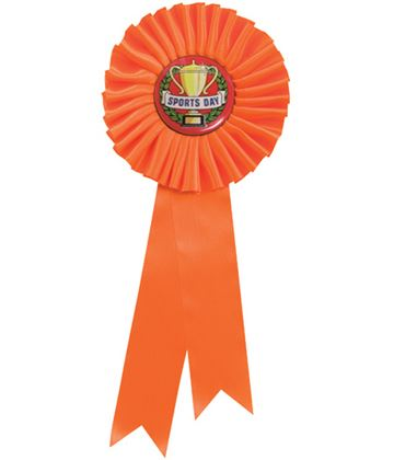 "Single Tier Orange Rosette With Sports Day Center Disc 25.5cm (10"")"