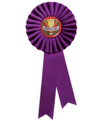 "Single Tier Purple Rosette With Sports Day Center Disc 25.5cm (10"")"