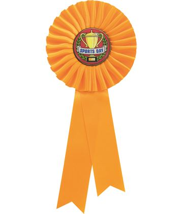 "Single Tier Yellow Rosette With Sports Day Center Disc 25.5cm (10"")"