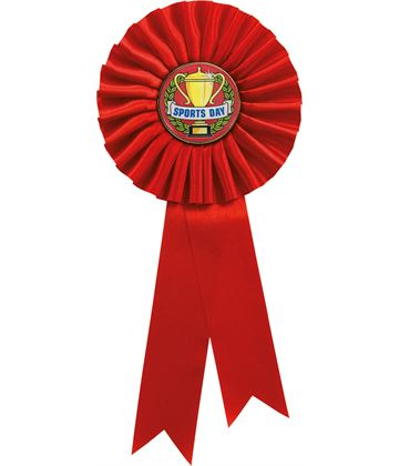 """Single Tier Red Rosette With Sports Day Centre Disc 25.5cm (10"""")"""