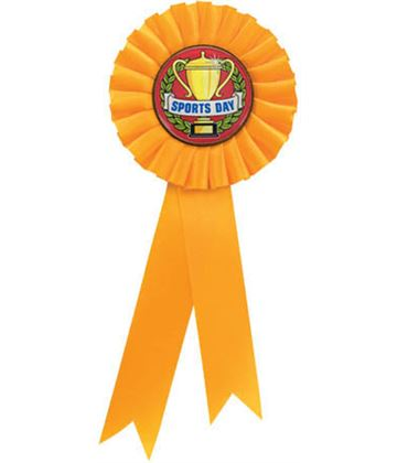 "Single Tier Yellow Rosette With Sports Day Centre Disc 30cm (11.75"")"